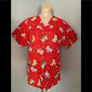 Scrubs Top Size Small 2 Front Pockets XMAS